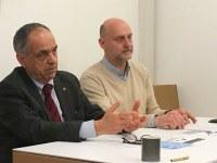 Il prof. Feliciati, sulla destra, con il rettore Adornato