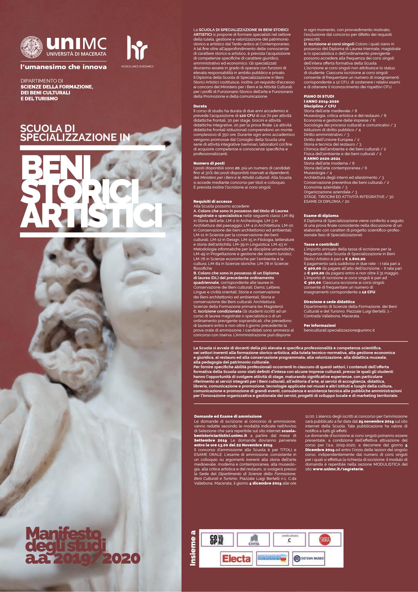 Pubblicazione Bando ammissione Scuola di Specializzazione in Beni Storici Artistici