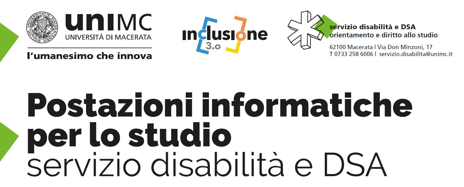 Servizio disabilità e DSA - Postazioni informatiche per lo studio